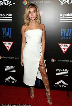 Hailey Baldwin changes into strapless white frock and thigh-high gladiator heels for MTV VMAs afterparty