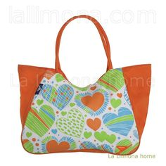 Bolsas de playa. Bolsa playa privata corazones cremallera naranja