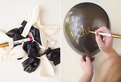 And an inexpensive option is to write on balloons in gold pen. 21 Easy Ways To Make A Bachelorette Party Memorable Glitter Bachelorette Party, Bachlorette Party, Bachelorette Party Decorations, Bachelorette Parties, Wedding Decorations, Black Balloons, Party In A Box, Gold Party, Friend Wedding