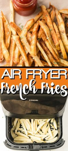 Air Fryer French Fries are so easy to make at home and these are simply the best! You can use little or no oil to make our crispy and crunchy healthy french fries! Totally guilt free!!! #homemade #airfryerrecipe #airfryer #easyrecipe #healthyrecipe #easy #healthy #crunchy