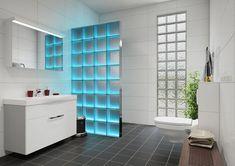 Light My Wall Duschabtrennung aus Glasbausteinen mit integrierter Beleuchtung