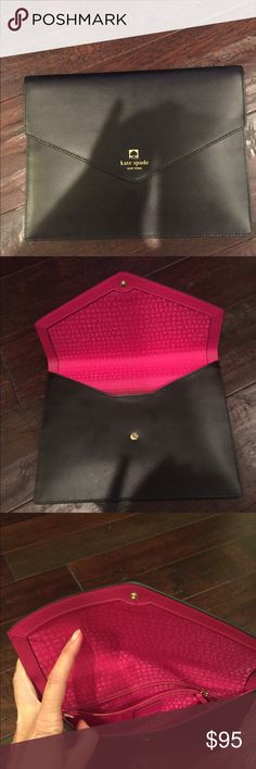"""NWT Kate Spade Envelope Clutch NWT Kate Spade envelope style clutch - black - 10"""" wide x 7.5"""" tall.  Classic Kate Spade style and quality.  Originally retailed for $129.  Check out my other listings - multiple item discount offered.  Thanks for looking. kate spade Bags Clutches & Wristlets"""