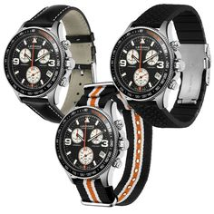 Leather, Nato or Rubber? What do you prefer?  Create your own Swiss Monza Chrono at www.lemarqwatches.com