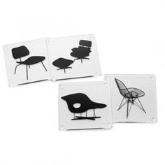 Each of the four clear acrylic coasters in this set displays a different chair originally designed by the influential team of Charles and Ray Eames: the 1948 La Plywood Chair, Charles & Ray Eames, Eames Chairs, Bag Chairs, Room Chairs, Dining Chairs, Chair And Ottoman, Upholstered Chairs, Chair Cushions