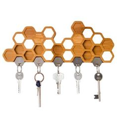 Bamboo Honeycomb Magnetic Key Holder And Storage Rack