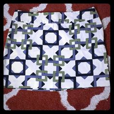 Geometric Print Skirt Blue and green geometric print skirt with side zipper. In great condition! Old Navy Skirts