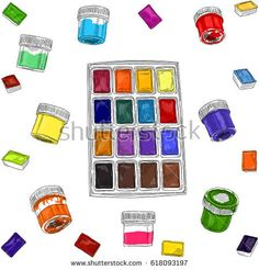 Vector illustration of artist creative set watercolors and acrylic