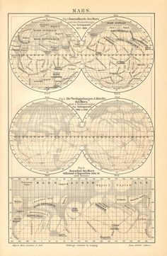 1896 Surface of the Mars, Planet Mars, Martian 'Canals' Antique Map