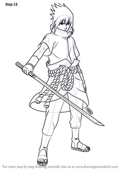 how to draw madara uchiha step by step