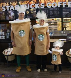 Karla: My daughter, son-in-law and grand baby are wearing the costumes. I found the idea on interest. I used tan felt, a wire wreath form, and tulle to make the cup...