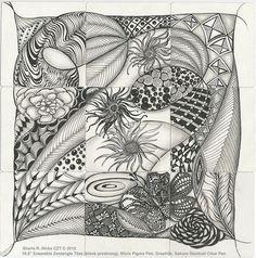 Botantical Melody © 2012 Sharla R. Hicks, 9 Ensemble Zentangle Tiles (blank prestrung), Micron Pigma Pen, Graphite, Sakura Clear Stardust Pe...