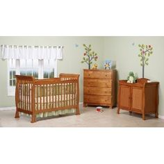 Reagan Two Piece Convertible Crib Set with Toddler Rail in Oak --- http://bizz.mx/j4f