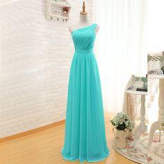 Elegant One Shoulder Pleated A-Line Long Chiffon Turquoise Bridesmaid Dress - Uniqistic.com