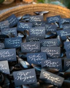 Escort cards fit for a nautical wedding.