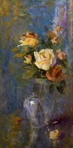 "Oil painting ""A White Rose"" 30""x15"" by artist Nora Kasten"