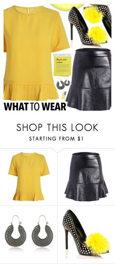"""""""Black And Yellow"""" by pastelneon ❤ liked on Polyvore featuring Privileged"""