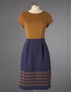Colourblock Dress - Boden - brown and navy
