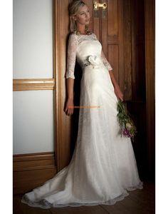 Rund-neck Schlicht Designer Brautkleid stuttgart aus Spitze