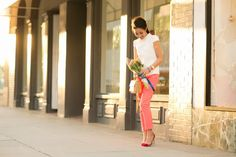 White cap sleeves / Neon coral pants / T bag / Gold accessories