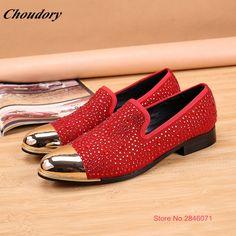2017 Factory Handmade Summer New luxury Men Shoes Metal Iron Toe Men Loafers  Rhinestone Dress Shoes 72bc7ebe54ce
