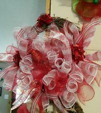 Christmas red & white deco mesh tubes on grapvine wreath
