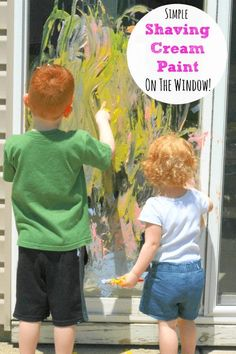 Simple shaving cream paint recipe and painting on the window!