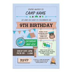 Camping Birthday Party Invitations CAMPING Camp Out BUG BIRTHDAY PARTY boys invite