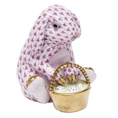 Herend Hand Painted Porcelain Figurine Eggstravagant Rabbit Raspberry Fishnet Gold Accents.