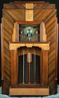 "Midwest ""SKYSCRAPER"" 16 tube ART DECO wood console radio- RESTORED, working!! | eBay"