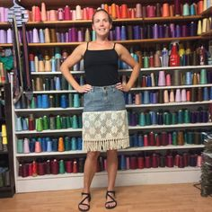 Vintage Lace Denim Skirt Size 8 Pencil Blue Jean Skirt by sewsomer