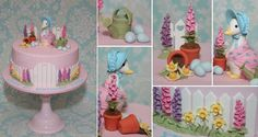 Inspired by my original Peter Rabbit Cake, this cake has been redesigned for a little girl's first birthday. Features Jemima Puddle-Duck with her eggs hidden amongst the garden. All decorations are hand crafted from fondant. Peter Rabbit Cake, Peter Rabbit Party, 3d Figures, Fondant Figures, Beatrix Potter Cake, Duck Cake, Cake Design Inspiration, Beautiful Cake Designs, Fondant Flowers