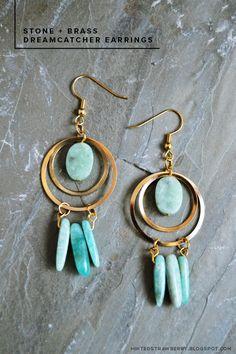 DIY: Stone   Brass Dreamcatcher Earrings