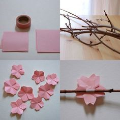 this is super cute - little origami cherry blossoms on real twigs in a vase, the little buggers are pretty hard to make though. it takes several to get the hang of it. also, start with large square paper and work your way to little ones. you can also use thin wire to attach the flowers. these would look adorable on bobby pins! i wonder if they could be attached to a string of lights.. would that be a fire hazard?