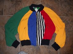 Moschino Italy 1993 Color Blocked Bomber Multi Color Vintage Jacket Zip Front…
