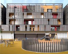 vivienda colectiva - 60 Dwellings Appartment Block for Fira 2000 / ONL Arquitectura Arch House, Mix Use Building, Building Design, Beautiful Architecture, Interior Architecture, Contemporary Architecture, Lofts, Eco Buildings, Student House