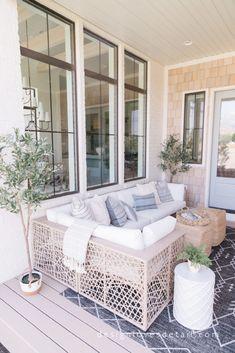 #EuropeanOrganicModern: Covered Deck Reveal Covered Deck Designs, Covered Decks, Outdoor Deck Decorating, Porch Decorating, Outdoor Decor, Covered Back Porches, Summer Porch, Decks And Porches, Organic Modern
