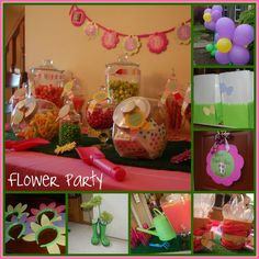 for a flower garden party using indoor outdoor grass as a table runner. and using sholves as scoopers Fairy Birthday Party, Birthday Bash, Birthday Parties, Flower Birthday, Birthday Ideas, Luau, Daisy Party, Sprinkle Party, Girl Birthday Decorations
