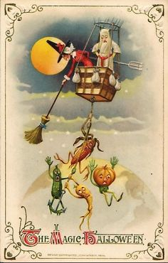 Early Halloween greetings made use of fruts and vegetables, in keeping with the harvest season. These friendly pumpkjin headed figures have long been forgotten but the occasional fearsome scarecrow is stuill a part of Halloween folklore. Retro Halloween, Spooky Halloween, Fröhliches Halloween, Vintage Halloween Images, Halloween Pictures, Vintage Holiday, Holidays Halloween, Victorian Halloween, Halloween Artwork