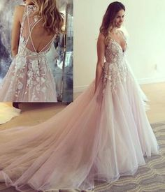 Long Prom Dresses, A-line V-neck Sleeveless Flower Appliqued Light Pink Chapel Train Tulle Wedding Dress