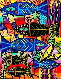 Ruby Coral Fish Print by Sandra Silberzweig
