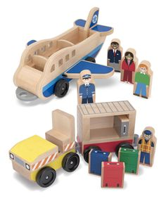 Whittle World Wooden Plane & Luggage Carrier Set - 12 Pieces | Whittle World | Melissa and Doug