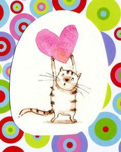 gato enamorado, ilustración de Liza Woodruff