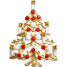 Vintage Candle Christmas Tree Brooch w/ White Glass Cabs & Red Rhinestones