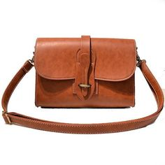 b6def8160b7 Retro Flap Metal Lock Catch Purse Small Shoulder Bag Simple Brown PU M –  Fowish.