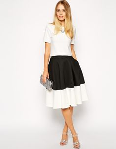 ASOS Color Block Midi Skirt In Scuba http://asos.to/1pTZTVS