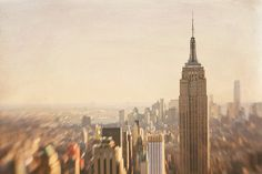 New York City Photography Oversized Print Dreamy Vintage NYC Skyline Beige Neutral Ivory Empire State Rockefeller Decor Large Wall Art