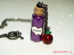 Snow White, Poison and Apple Wicked Queen Vial and Charm Necklace,  by Life is the Bubbles