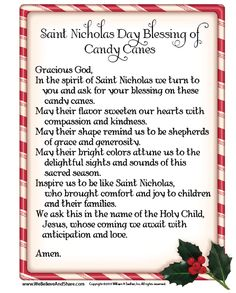 8 Best Images of Candy Cane Prayer Printable - Candy Cane Meaning Printable, Printable Candy Cane Story and Saint Nicholas Day Blessing of Candy Canes
