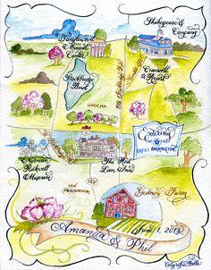 Tanglewood wedding  Custom Wedding Map Calligraphy and Watercolor by CaligrafiaBella
