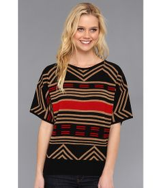 The Portland Collection by Pendleton Zigzag Stripe Merino Top Black Stripe - Zappos.com Free Shipping BOTH Ways